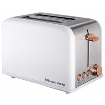 Russell Hobbs RHSWIRLT Swirly Toaster - 2 Slice, White Rose Gold - Front View