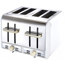 Russell Hobbs RHWWT01 Toaster - 4 Slice, White & Wood