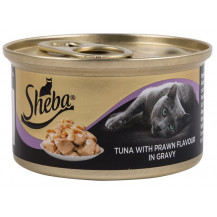 SSheba Cat Food in Gravy - Tuna with Prawn, 85g x 24