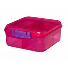 Sistema Lunch Bento Lunch Box - 1.25 Litre, Cube, Pink