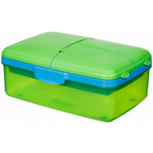 Sistema Lunch Slimline Quaddie Lunch Box - 1.5 Litre, Green
