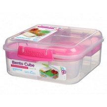 Sistema To Go Bento Lunch Box - 1,25 Litre, Cube, Pink