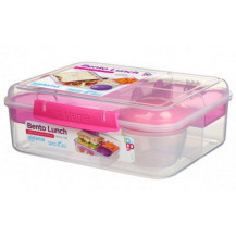 Sistema To Go Bento Lunch Box - 1.65 Litre, Lunch, Pink