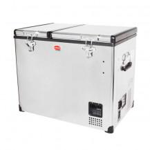 SnoMaster Stainless Steel Dual Compartment Portable Fridge/Freezer - 72L, AC/DC