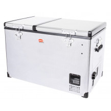 SnoMaster Stainless Steel Dual Compartment Portable Fridge/Freezer - 66L, AC/DC