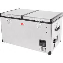 SnoMaster Low Profile Stainless Steel Dual Compartment Portable Fridge/Freezer - 66L, AC/DC