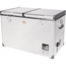 SnoMaster Stainless Steel Dual Compartment Portable Fridge/Freezer - 81.5L, AC/DC