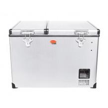 SnoMaster Stainless Steel Dual Compartment Portable Fridge/Freezer - 56L, AC/DC