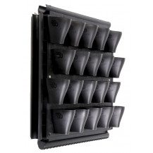 Modiwall Vertical Garden System with Panel & Grid - 20 Pots, Black