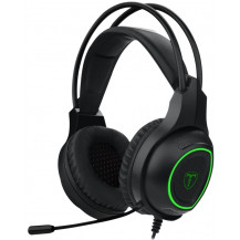 T-Dagger Atlas Stereo Wired Gaming Headset - 40mm, 3.5mm+USB, Omnidirectional Gooseneck Mic, Black/Green