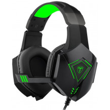T-Dagger Rocky Stereo Wired Gaming Headset - 40mm, 3.5mm+USB, Omnidirectional Snub Mic, Black/Green