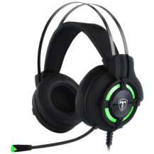 T-Dagger Andes Stereo Wired Gaming Headset - 40mm, USB, Omnidirectional Gooseneck Mic, Black/Green