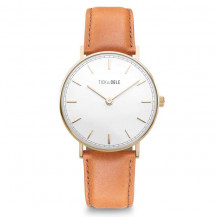 Tick and Ogle Herman Leather Men's Watch - Gold White/Cognac