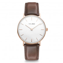 Tick and Ogle Herman Leather Men's Watch - Rose Gold White/Moro