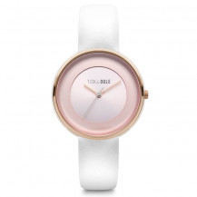 Tick and Ogle Rose Delight Leather Women's Watch - Pink/White
