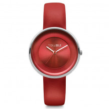 Tick and Ogle Solid Leather Women's Watch - Red