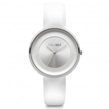 Tick and Ogle Solid Leather Women's Watch - White