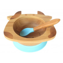 Tobbie & Co Happy Cow Organic Bamboo Bowl - Blue