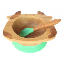 Tobbie & Co Happy Cow Organic Bamboo Bowl - Green