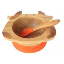 Tobbie & Co Happy Cow Organic Bamboo Bowl - Orange