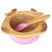 Tobbie & Co Happy Cow Organic Bamboo Bowl - Pink
