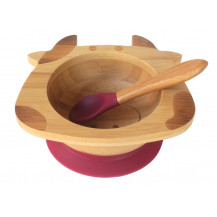 Tobbie & Co Happy Cow Organic Bamboo Bowl - Purple