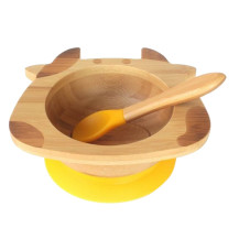 Tobbie & Co Happy Cow Organic Bamboo Bowl - Yellow