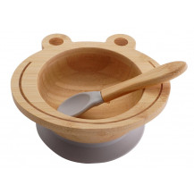 Tobbie & Co Happy Frog Organic Bamboo Bowl  - Grey