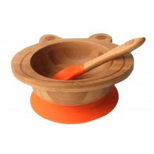 Tobbie & Co Happy Frog Organic Bamboo Bowl  - Orange