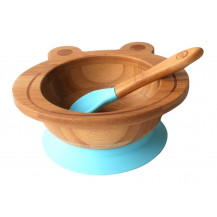 Tobbie & Co Happy Frog Organic Bamboo Bowl - Teal