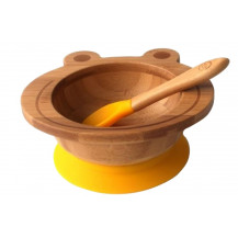 Tobbie & Co Happy Frog Organic Bamboo Bowl - Yellow