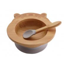 Tobbie & Co Happy Hippo Organic Bamboo Bowl - Grey