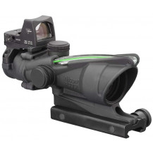 Trijicon ACOG 4x32 Scope w- 3.25 MOA RMR Type 2 Sight - Dual Illuminated, Green Chevron .223 Ballistic Reticle