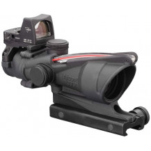 Trijicon ACOG 4x32 Scope w- 3.25 MOA RMR Type 2 Sight - Dual Illuminated, Red Chevron .223 Ballistic Reticle