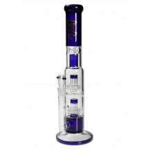 Black Leaf 2 Drum Percolator Blue Glass Ice Bong