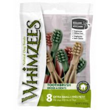 Whimzees Toothbrush Natural Daily Dental Dog Treats Flow Pack - Extra Small, 8 piece