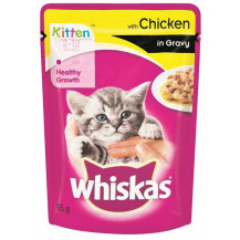 Whiskas Kitten Food in Gravy Pouch - Chicken, 85g x 48