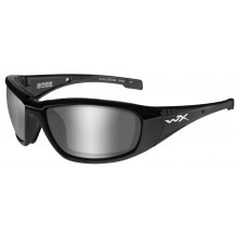 Wiley X Boss Glasses - Grey Silver Flash, Gloss Black Frame - Front View