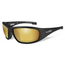 Wiley X Boss Glasses - Pol Venice Gold Mirror, Matte Black Frame - Front View