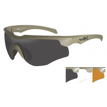 Wiley X Rogue Comm Glasses -  Grey/Clear/Rust, Tan Frame - Front View