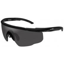 Wiley X Saber ADV. Glasses - Smoke, Matte Black Frame w/Bag - Front View