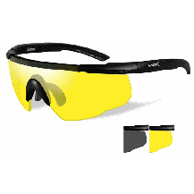 Wiley X Saber ADV. Glasses - Smoke/Yellow, Matte Black Frame w/Bag - Front View