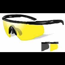 Wiley X Saber ADV. Glasses - Smoke/Yellow, Matte Black Frame w/Bag - Front View