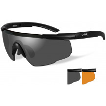 Wiley X Saber ADV. Glasses - Smoke/Rust, Matte Black Frame w/Bag - Front View