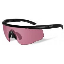 Wiley X Saber ADV. Glasses - Vermillion, Matte Black Frame w/Bag - Front View