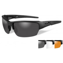 Wiley X Saint Glasses - Grey/Clear/Rust, Matte Black Frame - Front View