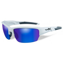 Wiley X Saint Glasses -  Polarized Blue Mirror, Gloss White Frame - Front View