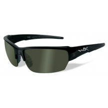 Wiley X Saint Glasses - Polarized Green, Gloss Black Frame - Front View