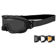 Wiley X Spear Dual Goggles - Smoke/Clear/Rust, Matte Black Frame - Front View