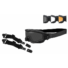 Wiley X Spear Goggles Dual, Black Frame + ARC Rail Attachment System - Front View